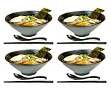 4 sets (12 piece) Large Japanese Ramen Noodle Soup Bowl Melamine Hard Plastic Dishware Set with Matching Spoon and Chopsticks for Udon Soba Pho Asian Noodles (4, Black)