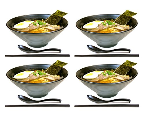 4 sets (12 piece) Large Japanese Ramen Noodle Soup Bowl Melamine Hard Plastic Dishware Set with Matching Spoon and Chopsticks for Udon Soba Pho Asian Noodles (4, Black) by APEX S.K.
