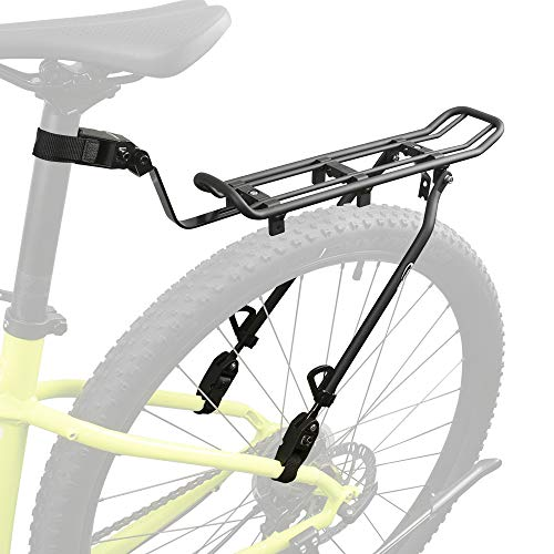 Ibera Bicycle Touring Clamp-On Bike Carrier Rack Quick Release Height Adjustable for 26″-29″ Frames
