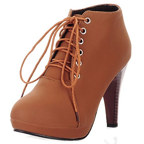 Boots Heel Booties Women Up Lace High Short Winter Autumn Brown TAOFFEN YPqan