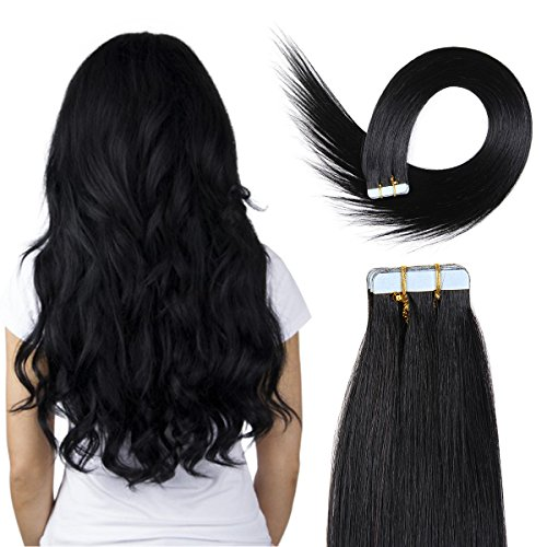 20 inch Skin Weft Tape Hair Extensions 100% Remy(Remi) Straight Human Hair Extension 20pcs 50g/pack (#1) Jet Black