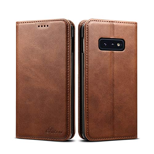 - Galaxy S10E Leather Wallet Case 5.8inches,TACOO Kickstand Brown Shell Slim Fit Card Money Slot Fold Protective Men Women Cover for Samsung S10e 2019