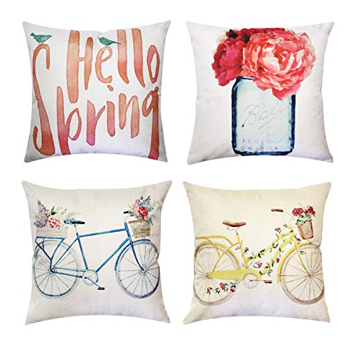 JOJUSIS Spring Theme Flower Bicycle Throw Pillow Covers Cotton Linen Home Decor Decorative Cushion Cases 16 x 16 inch…