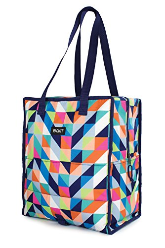 PackIt Freezable Grocery Shopping Tote Bag with Zip Closure, Paradise Breeze (That Lunch Cold Box Stays)