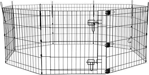 AmazonBasics Foldable Metal Pet Exercise and Playpen with Door, 24