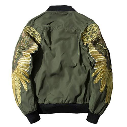 Chartou Men's Classic Snake-Embroidery Lightweight Flight Baseball Jacket Windbreaker (Small, 2Army Green)