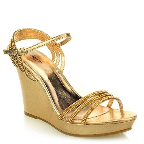 Mujer Señoras noche casual cómodo tacón de cuña diamnate sandalia zapatos tamaño (Oro, Negro, Plata, Champagne) Champagne