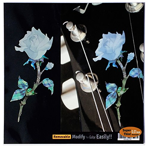 Inlay Sticker Decal Guitar Headstock In Abalone Theme - Single Rose