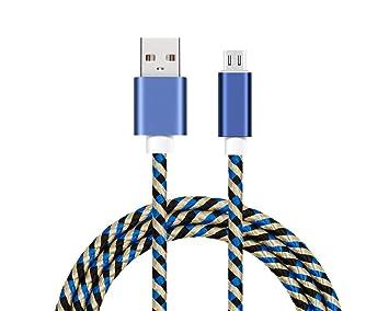 Bellatio Cable Compatible con Xiaomi Mi A2 Lite Cable Micro USB Cable Cargador Cable Carga Nylon Trenzado Conectores Cable Cargador Micro USB Azul