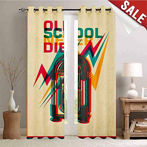 Hengshu Jukebox Window Curtain Drape Old School Never Die Quote on Antique Radio Abstract Backdrop Customized Curtains W72 x L108 Inch Turquoise Marigold and Hot Pink