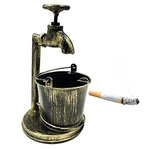Tripolar Water-tap Shaped Ash Trays Home Retro Bar Ashtray Large Capacity Smoking Cigar Ashtray- As Birthday gift for Men or Smokers,Right Angle,Copper (Macanudo Vintage compare prices)