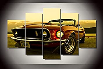 ford mustang car print canvas decoration 5 pieces