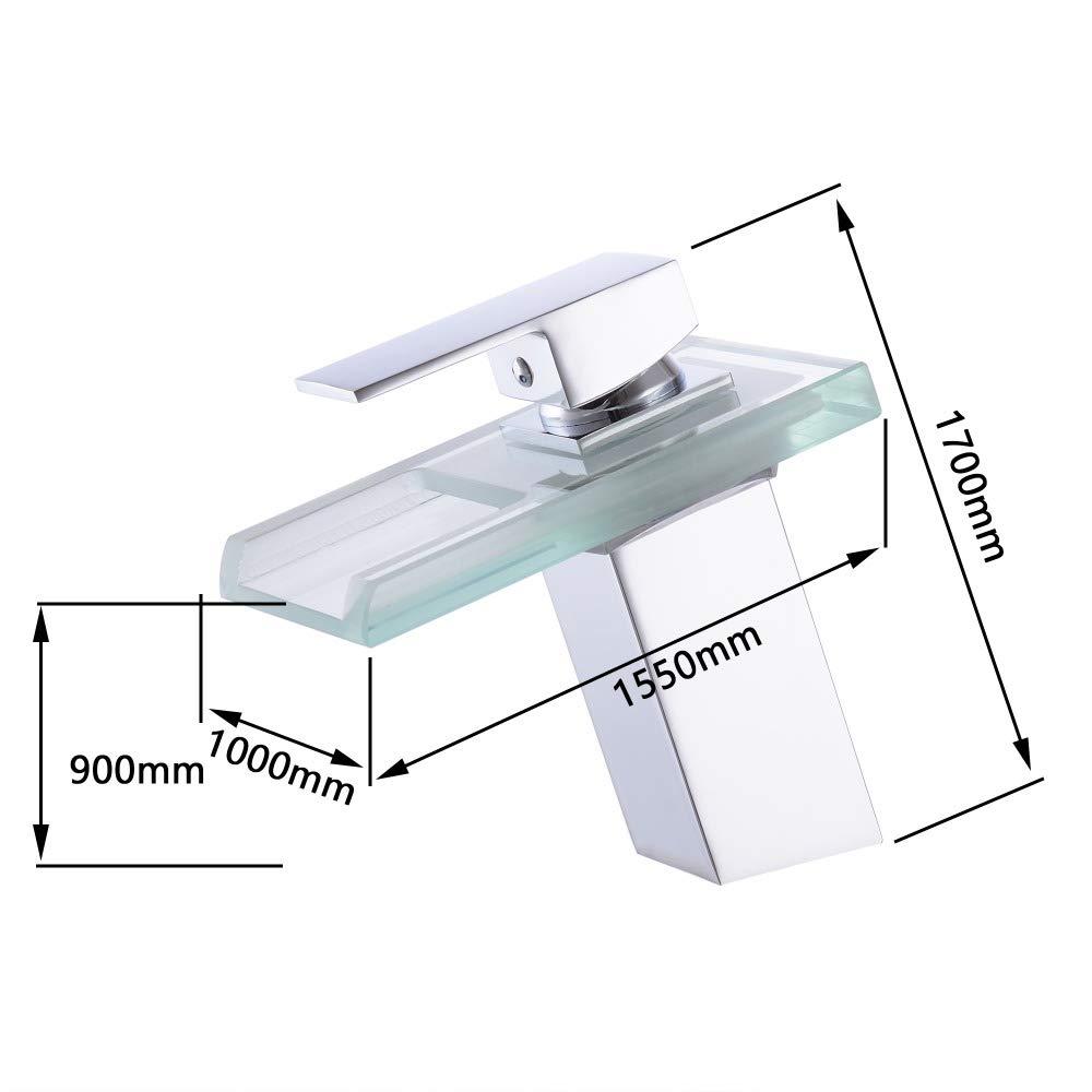 ZHFJGKR&ZL Taps Bathroom Waterfall Led Faucet Glass Waterfall Brass Basin Faucet Bathroom Mixer Taps Deck Mounted Basin Sink Mixer Taps