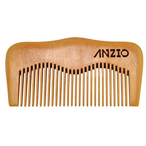 Wood Beard Mustache Comb by ANZIO, Handmade Pocket & Travel Size With or Without PU Leather Credit Card ID Money Holder (Pear Wood)