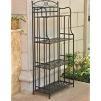 K&A Company Black Iron Rack Bakers Use Folding Powder Coated Black Powdercoated for Outdoor or Indoor Use 59 x 29 x 3 inches.