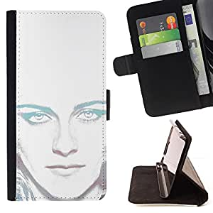 DEVIL CASE - FOR HTC Desire 820 - Portrait White Light Woman Alien Green Eyes - Style PU Leather Case Wallet Flip Stand Flap Closure Cover