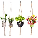 Macrame Rope Plant Hangers, 39 Inch Handmade Jute and Cotton Hanging Planter Basket Holder for Indoor Outdoor Balcony Ceiling Decoration with Steel Ring, 4 Pack from Pensenion (Pot Not Included)