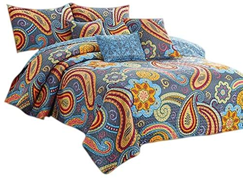 Collection Jewelstone - Virah Bella Debra Valencia Collection Contessa Jewelstone Paisley Blue Quilt and Pillow Sham Set 3 Piece (Contessa Jewelstone, King)