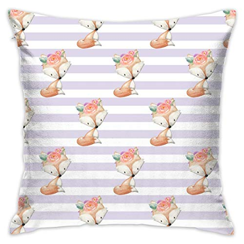 (Miliface Baby Girl Fox (Lavender Stripe) Smaller - Woodland Animal Baby Nursery Crib Sheets Blanket Bedding GingerLous Decorative Square Throw Pillow Covers 17.7 x 17.7 Inch 45 x 45 cm)