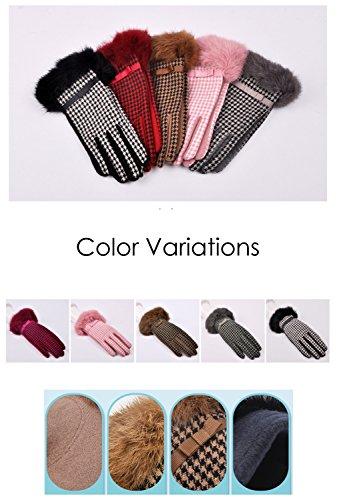 Youchan(ヨウチャン) 手袋 レディース グローブ ラビットファー リボン 上品 千鳥格子 暖か ギフト プレゼント 小物 羊毛