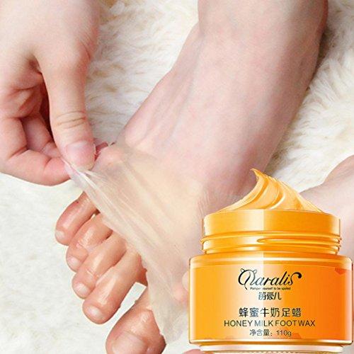 (Yeefant 110g Honey Milk Foot Wax White Moisturizing Tender Exfoliating Whitening Replenishment Propolis Foot Mask for Women)