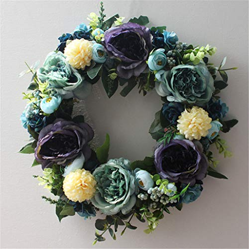 LYFWL Christmas Wreath Raw Silk Artificial Flowers Silk Flower Garland Vintage Blue Wreath Door Trim Pastoral Home Decoration Garden Door Trim 35cm Wedding Wreath