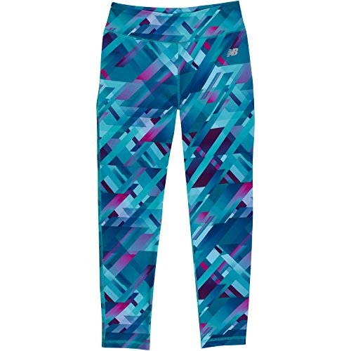 New Balance Girls' Big Print Performance Tight, Gradient Plaid, 14 (New Balance Plaid)