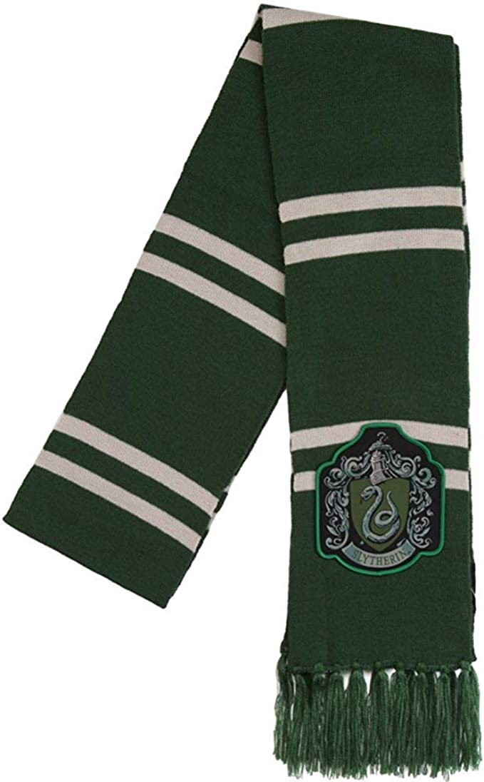 amazon com harry potter slytherin patch knit scarf osfm green clothing harry potter slytherin patch knit scarf osfm green