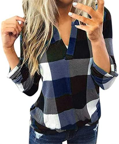 AOKASII Womens Tops and Blouses, Womens Summer Casual Plaid Shirt Sleeve T-Shirts Blouse Outwear Sport Shirt