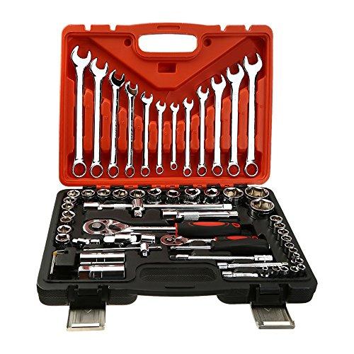 OCGIG 61 PCS Wrench Spanner Set Steel Auto Sleeve Combination Hardware Car Repair Tool Socket Set
