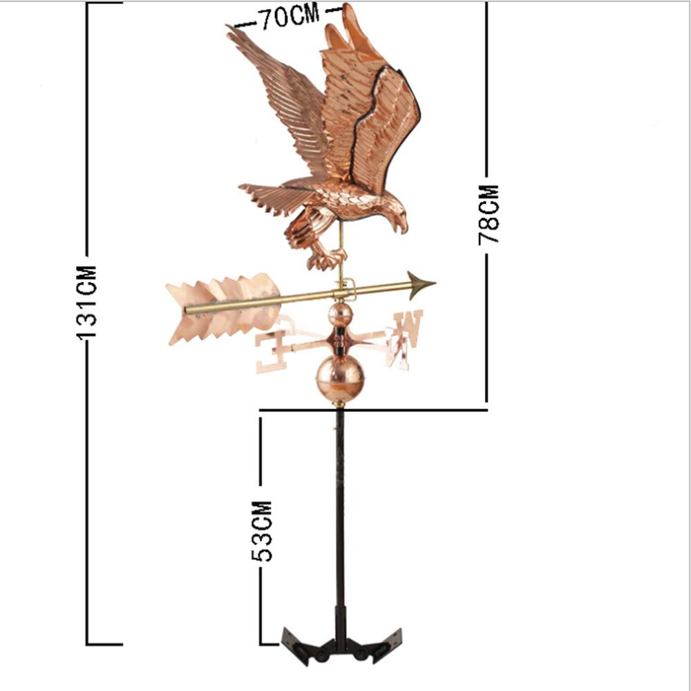 Good Direction BANTAM Eagle Weather Vane Garden Cabin Weather Vane Rustic Style Roof Support Patio Decoration Polished Copper