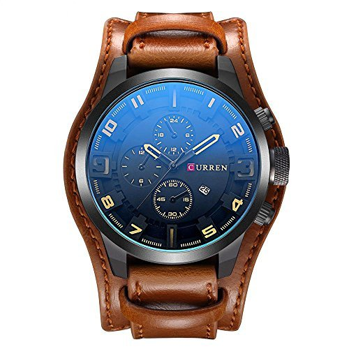CURREN Original Men's Sports Waterproof Leather Strap Date Wrist Watch Good Quality 8225 Brown Black