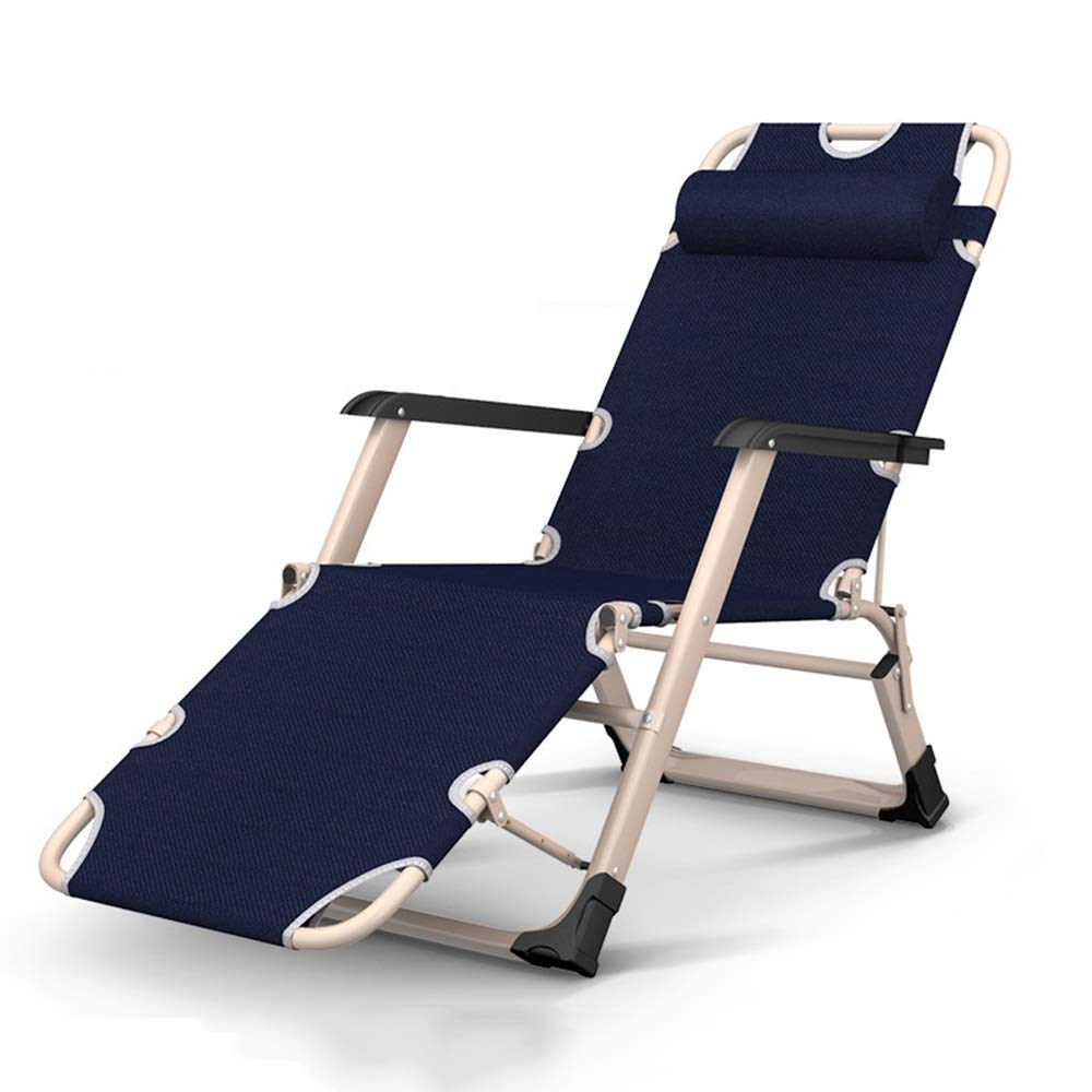 A 85x78cm HPLL Folding Reclining Chair, Metal Folding Lounge Chair with Detachable Headrest Multi-Function Beach Chair Garden Chair, Maximum Load  300 Kg Kitchen Folding Chair (color   B, Size   85x78cm)