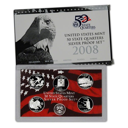 2008 S US Mint Quarters Silver Proof Set OGP (1999 Us Mint Quarter)