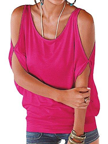 Tinta Estive E Top Unita Bluse Spalle Casual Scoperte Barca Manica Shirt Rosa T Camicetta A Camicie Corta Scollo Donna Landove 0BCqTx