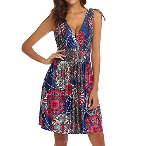 DondPo Women's Dress Sleeveless Low Cut V Neck Backless Tunic Top Boho Floral Printed Casual Pockets Midi Sun Dresses - Bodice Metallic