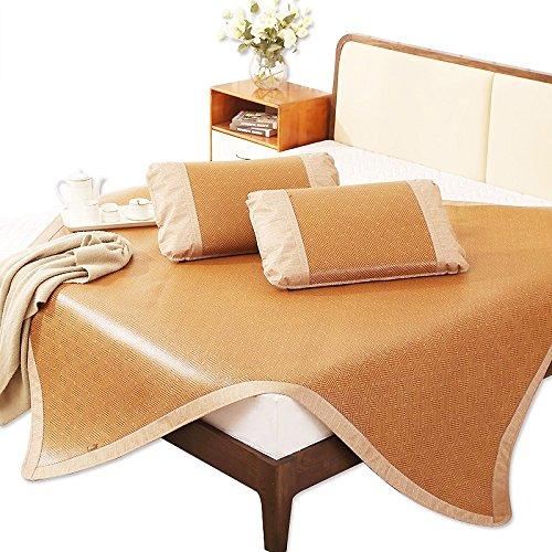 Rattan Bedding Set - Summer sleeping mat, Rattan mat Queen 3-piece Ultra soft cool bedding Folding Ironing Sweat absorption Summer sleeping pad-A 200x220cm(79x87inch)
