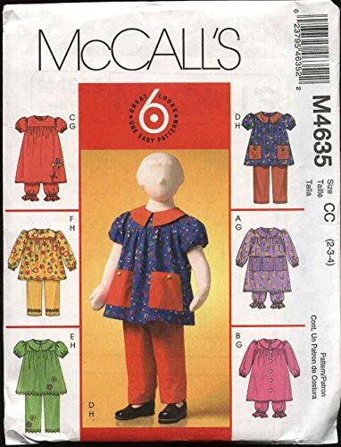 (McCall's 4635 Sewing Pattern Children's, Toddlers' Dresses, Tops, Bloomers & Pants, Sizes 1-2-3)