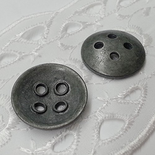 6 PCS 23mm Old Antique Silver Metal Button with 4-Hole, SP-2223