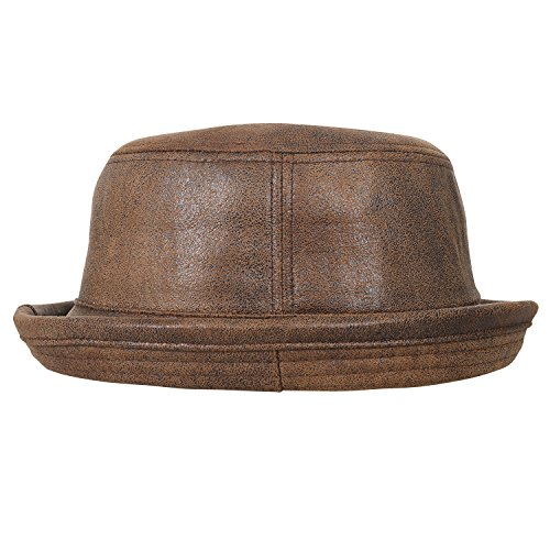 ililily Vintage Faux Leather Rolled Short Brim Fedora Flat Pork Pie Hat, Light Brown, - Hat Breaking Pork Bad Pie