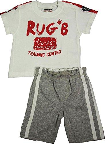 Price comparison product image Mish Boys - Baby Boys Rug B Training Center Short Sleeve Short Set,  White,  Red,  Grey 13270-6Months