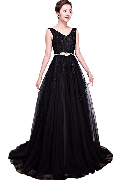 Sunvary Appliques Tulle Ball Gown Reception Party Prom Gowns New Size 2- Black