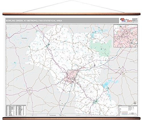 MarketMAPS Bowling Green, KY Metro Area Wall Map - 2018 - ZIP Codes - Laminated with Wooden Rails - 64W x 48H inches (Green Furniture Ky Bowling)