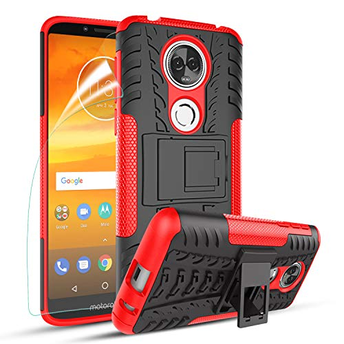 OEAGO Moto E5 Supra Case with HD Screen Protector, Hybrid Shockproof Drop Protection Impact Rugged Heavy Duty Case Cover for Motorola Moto E5 Supra/Moto E5 Plus, Red