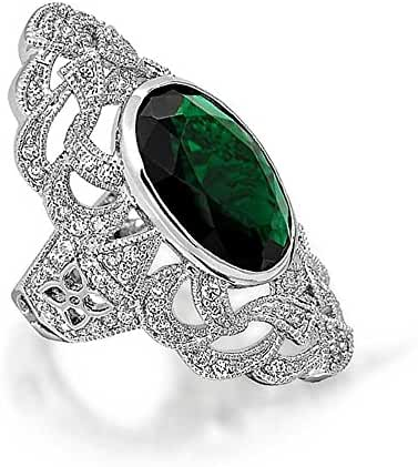 Bling Jewelry Simulated Emerald CZ Armor Ring Deco Style Rhodium Plated