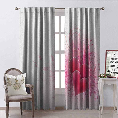 GloriaJohnson Romantic 99% Blackout Curtains Valentines Day Themed Hearts with Floral Arrangement Romantic Amour Illustration for Bedroom- Kindergarten- Living Room W52 x L63 Inch Pink White]()
