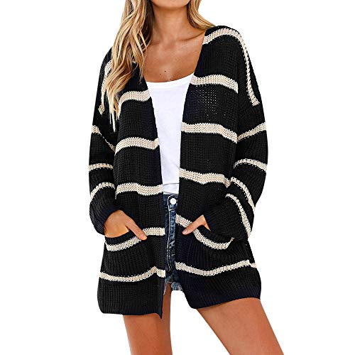 UOFOCO Striped Cardigans for Women Long Sleeve Tops Open Front Jumper Sweaters with Pocket ()