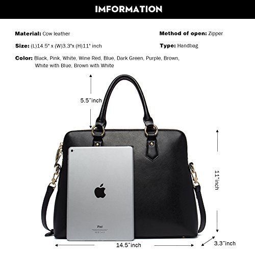 Black 2 Purse Satchel CLUCI Designer black Shoulder for Leather Women Tote Handbags Bag nxxqvPBF4Z