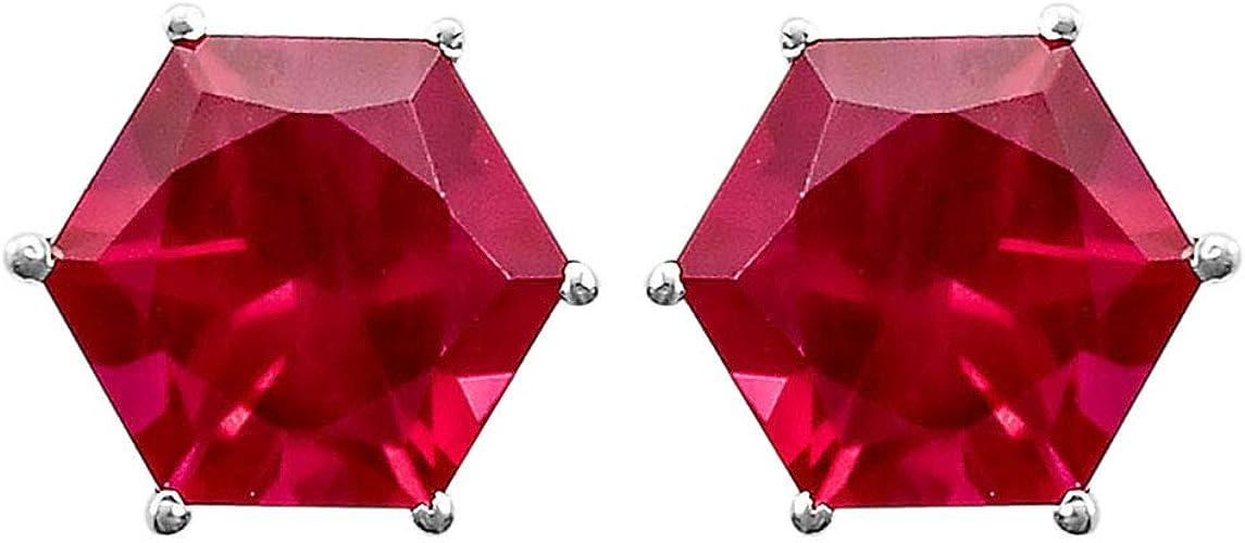Pinkish Red Ruby Stud 8x8 mm Hexagon Shape 925 Silver Earrings Jewelry DGE1007/_I