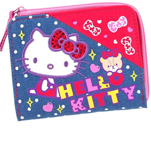 Hello Kitty Glitter Bow Canvas Wallet with Coin Purse Multiple Card Slots